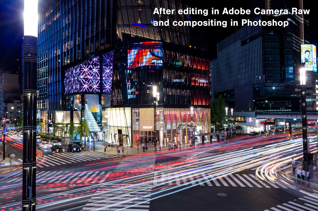 After editing in Adobe Camera Raw and compositing in Photoshop