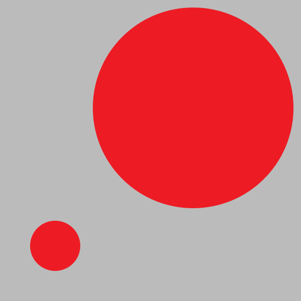 Figure 6 - A small red circle in the bottom-left corner and a large red circle in top-right corner.