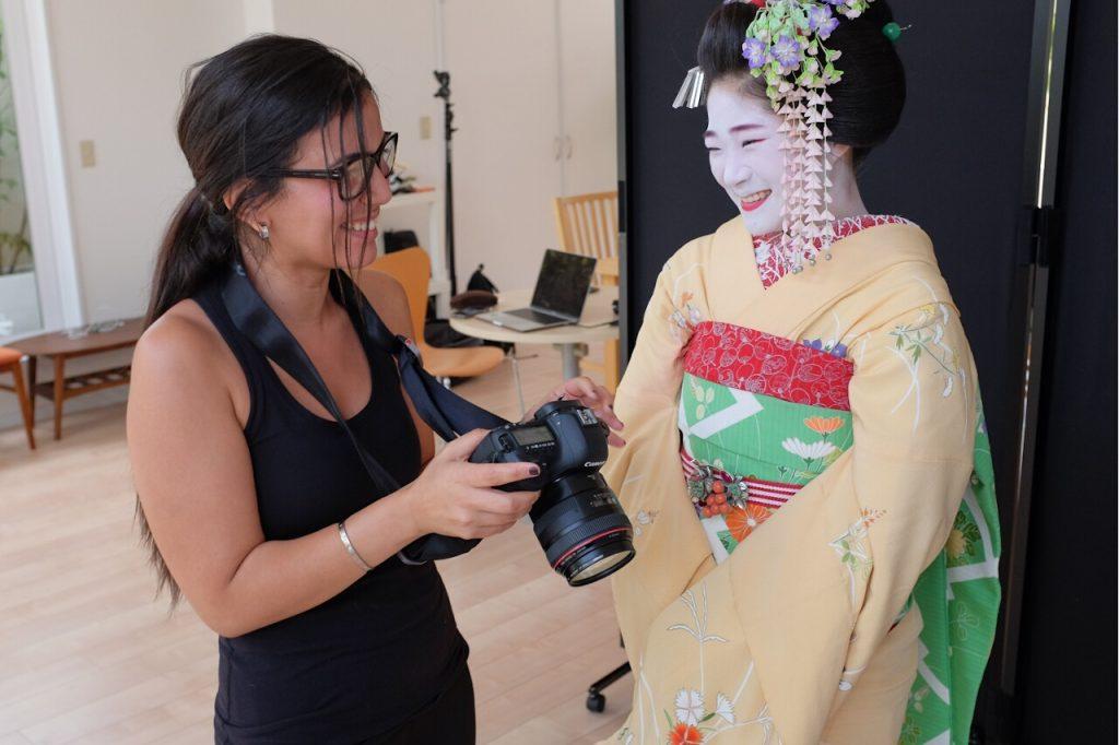 Behind The Mask Geisha Pro Photo Shoot-Safaa shows photos to Masano