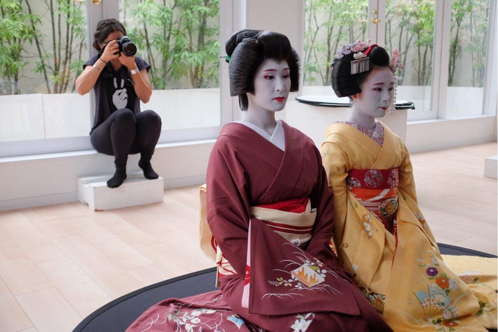 Behind The Mask Geisha Pro Photo Shoot-Safaa photographs while Kanowaka and Kanohisa pose.