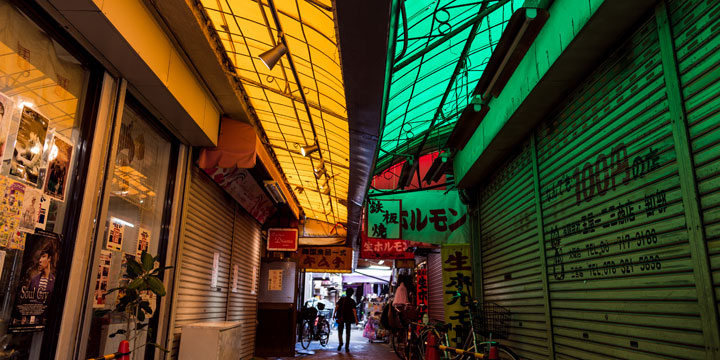 The colorful alleys of Tsuruhashi in Osaka make for a prime spot for street photography during the photo workshop